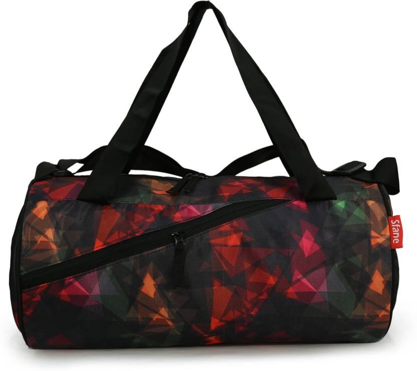 sfane Printed Black Duffel Sports Gym Bags Gym Bag Grey - Price in ... 12dc19c9bd3ac
