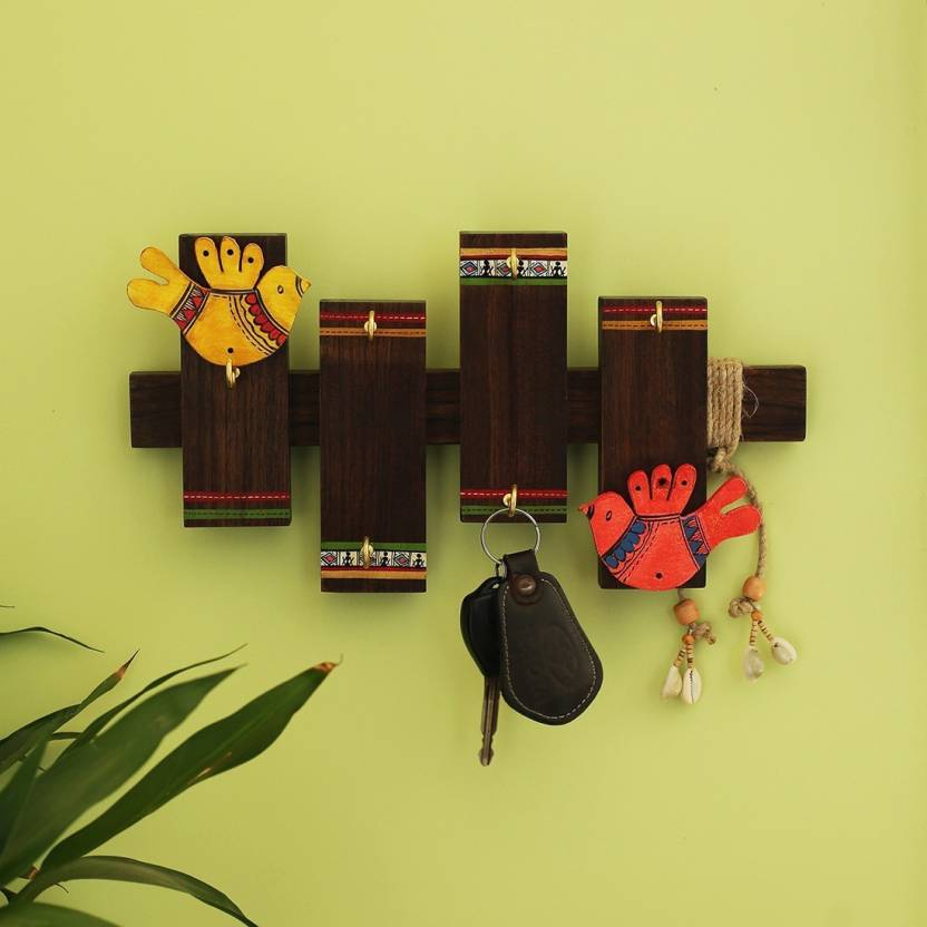 6b99146778fa ExclusiveLane Birds On Planks' Warli Hand-Painted Wall Hanging Wooden Key  Holder