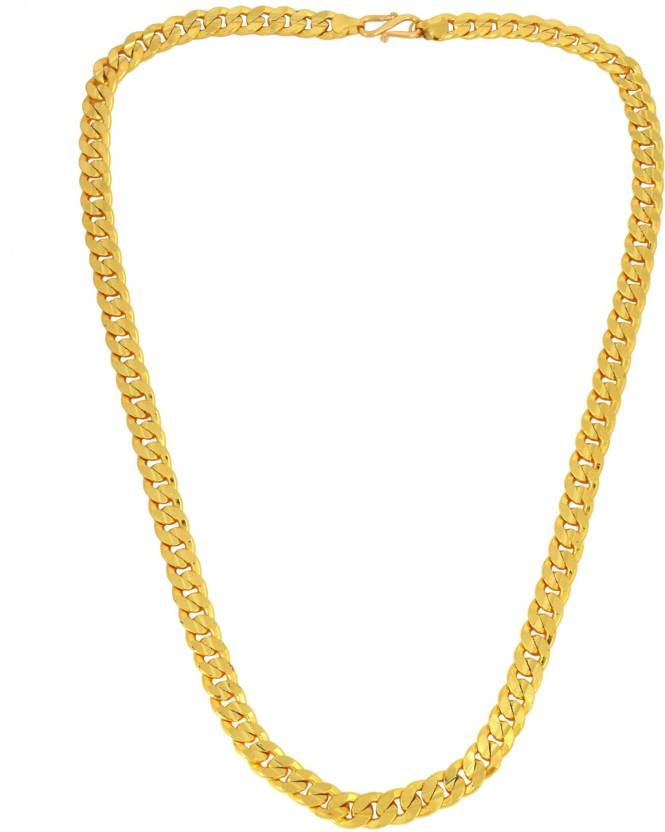 ad2f9a707 DzineTrendz Gold Covered Real gold look, 24 Inch, 80 Gms Cuban link chain  design ethnic necklace jewellery for Men Gold-plated Plated Brass Necklace  Price ...