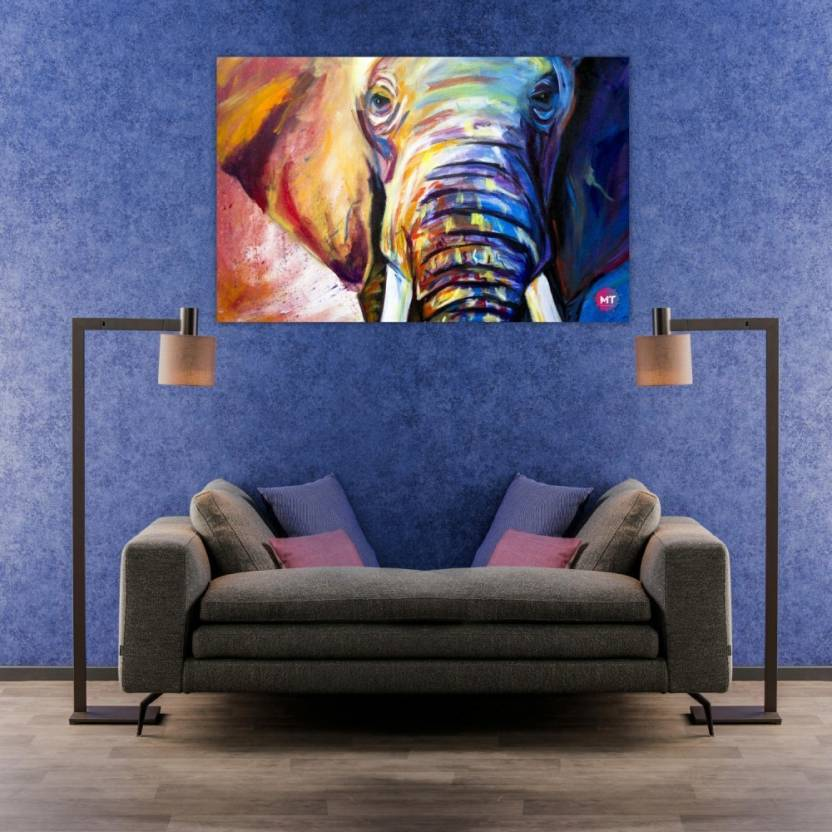 Chandras Abstract Elephant Single Frame Panel Canvas Wall