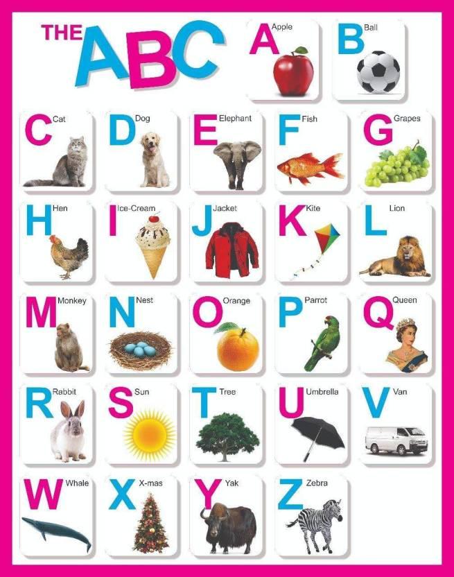 ABC Alphabet Charts Educational A3 Size  Photographic Paper