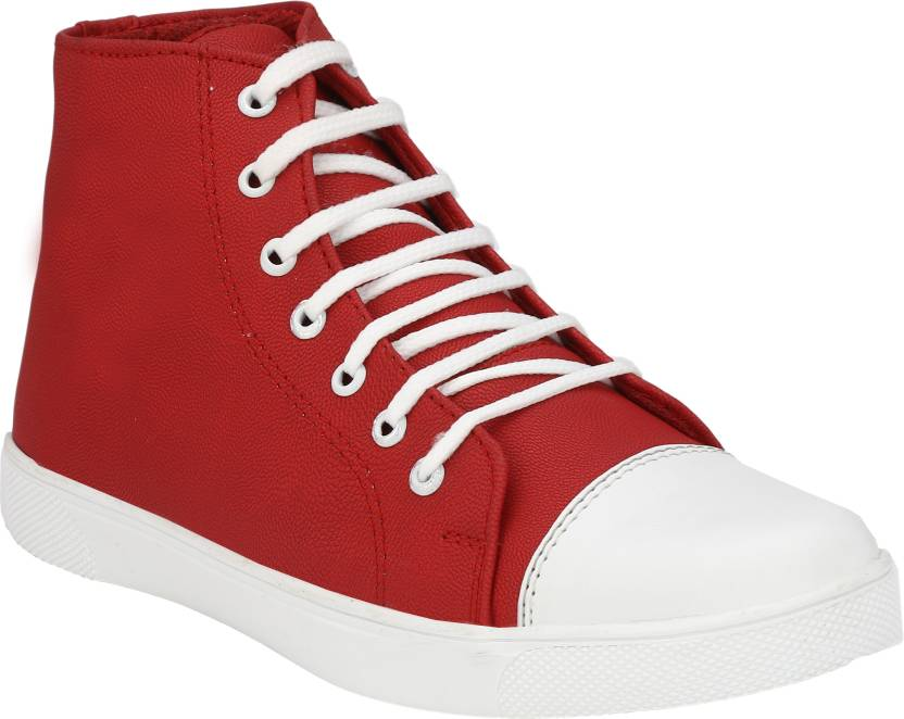 047f6084 OPTIFEET Men's / Boys Red High Ankle Canvas Sneakers Canvas Shoes For Men  (Maroon)