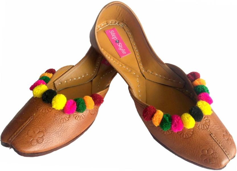 ffb9f9a33 Step N Style Women s Pure Leather Khussa Shoes Punjabi Jutti Ethnic Mojari  Rajasthani Ballet Shoes Casual Sandal Casuals For Women (Tan)