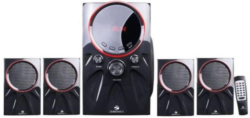 Zebronics Punk 4.1 Bluetooth Speaker W 60 W Bluetooth Home Audio Speaker Black, 4.1 Channel