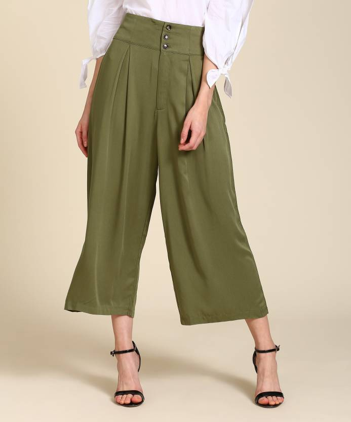 d1eff2f4c67 Forever 21 Regular Fit Women Green Trousers - Buy OLIVE Forever 21 Regular  Fit Women Green Trousers Online at Best Prices in India