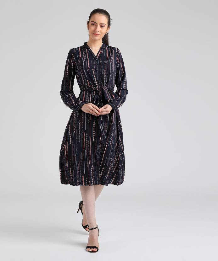 9247570d10e Tokyo Talkies Women A-line Dark Blue Dress - Buy Tokyo Talkies Women A-line  Dark Blue Dress Online at Best Prices in India