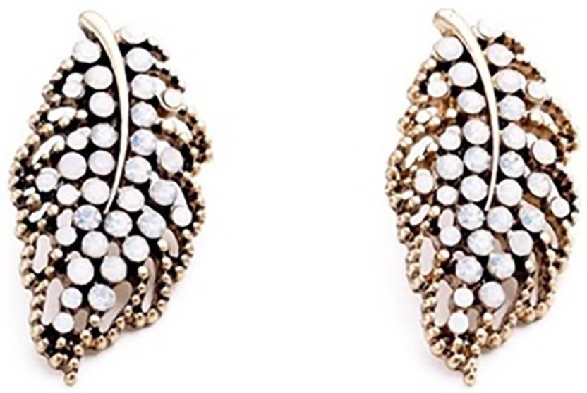 a551717776cc Flipkart.com - Buy Bling Bag Bling Style Stunning Milky White Leaf Stud  Earrings Crystal Alloy Stud Earring Online at Best Prices in India