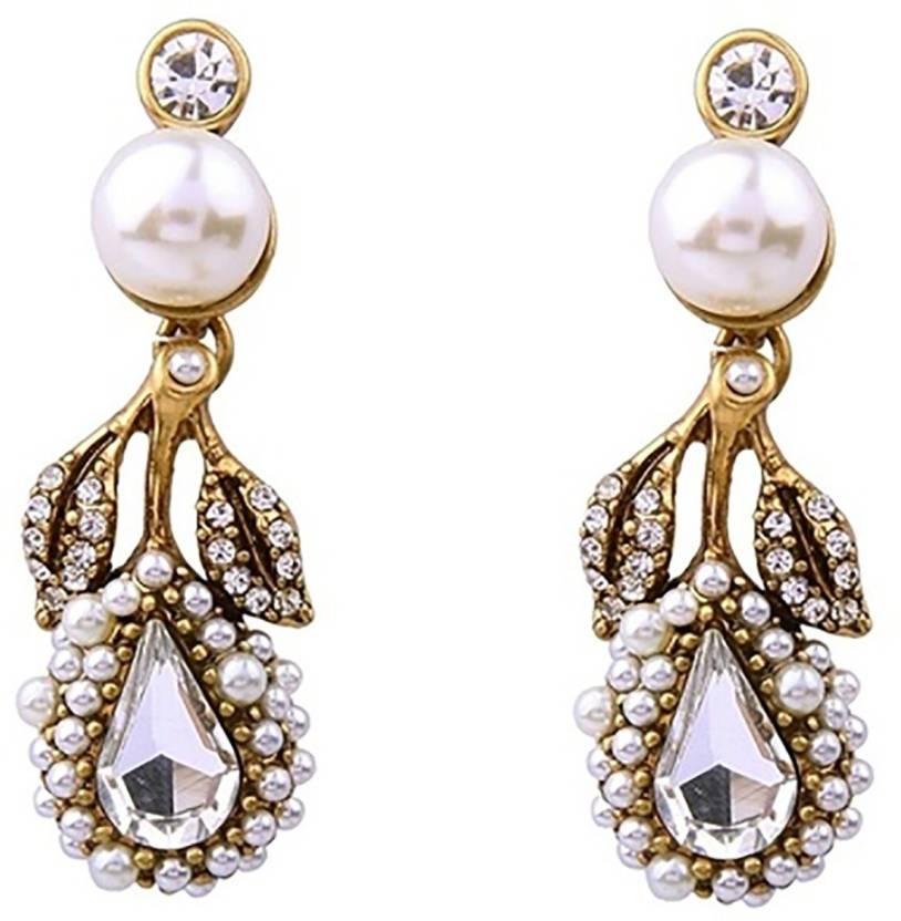dacf2348c547 Flipkart.com - Buy Bling Bag Bling Style Designer Pearl Drop Statement  Earrings Pearl Alloy Dangle Earring Online at Best Prices in India
