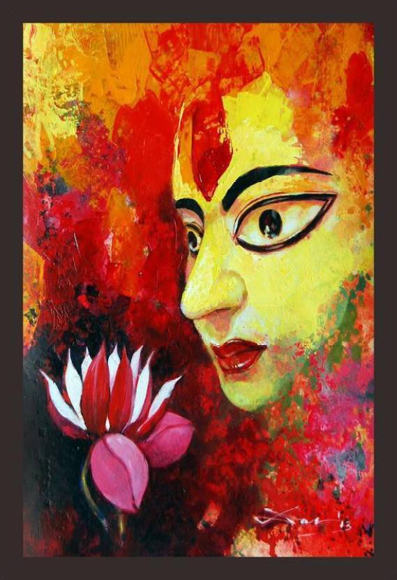 Mad Masters Maa Durga 1 Piece Wooden Framed Painting Wall