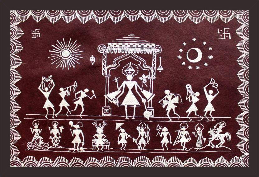 Mad Masters WARLI PAINTING OF LORD VISHNU AND HIS DUS AVATARS 1 Piece wooden framed painting ...
