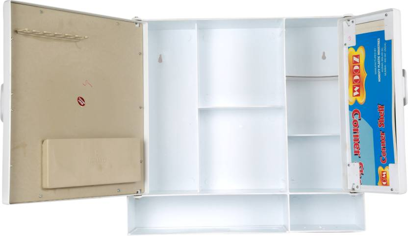 Zoom Butterfly Double Mirror Storage Bathroom Cabinet Shelf Plastic Mirror Storage Chest 17 X4 X16 Inches Color White Plastic Wall Shelf