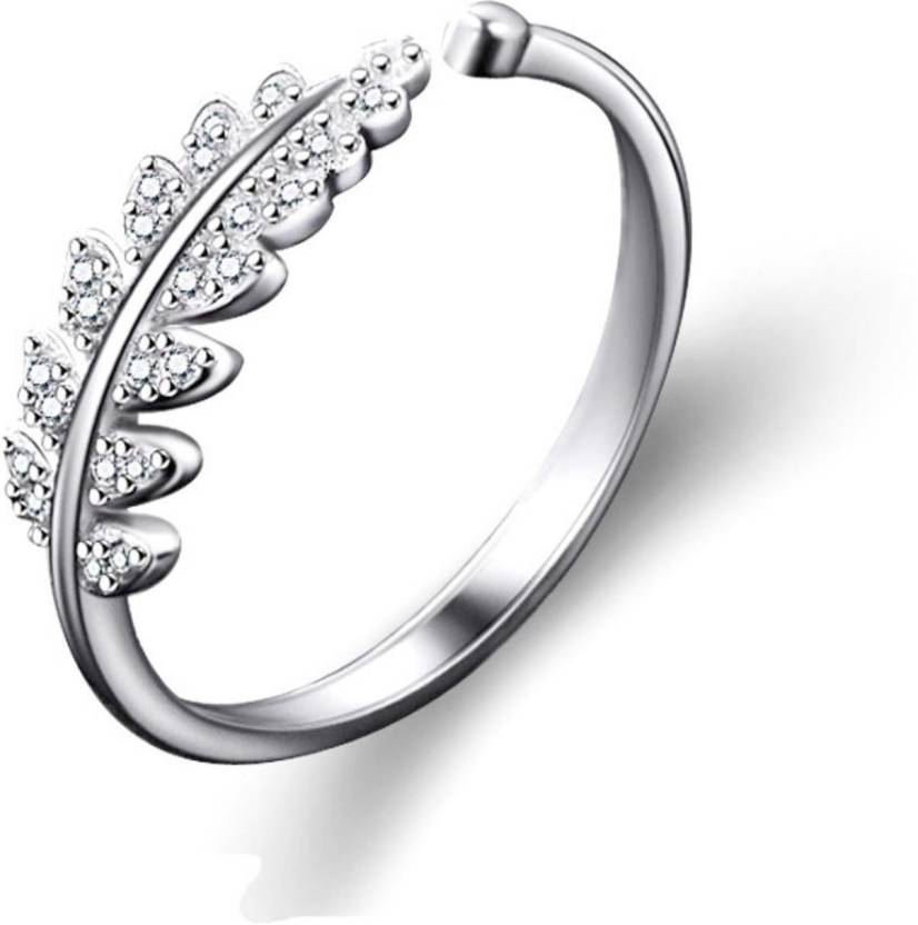 7148c68df MYKI Princess Queen Swarovski Elements Leaves Adjustable Silver Plated Ring  For Women Sterling Silver Cubic Zirconia 22K Yellow Gold Plated Ring Price  in ...