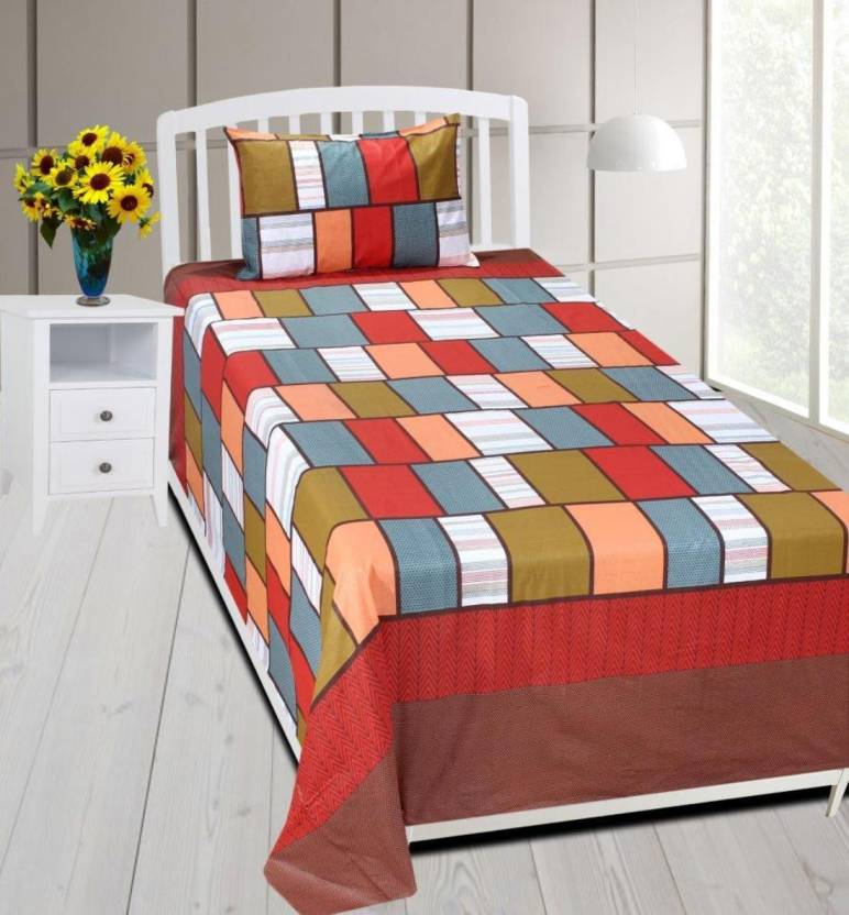 7d305d222a Home In Dacora 180 TC Cotton Single Checkered Bedsheet (Pack of 1, Brown,  Red, Orange)