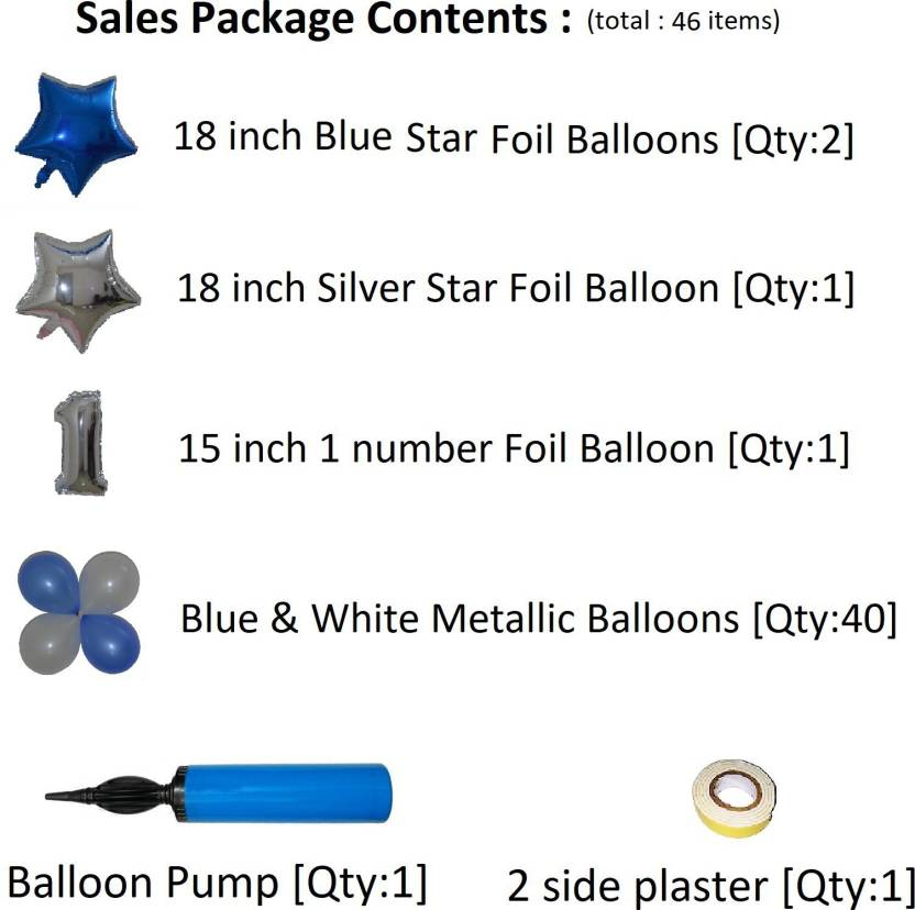 Easypartystore Little Star Theme 1st Birthday Decoration Kit For Baby Boys Set Of 46