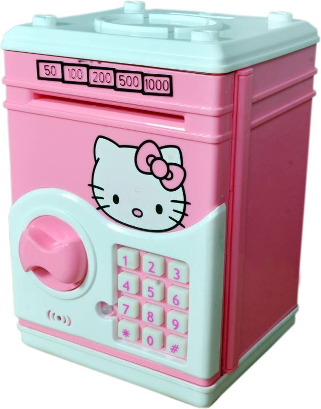 c6bebd3a9 Craftoy Electronic Piggy Bank ATM Password Lock Money Safe for Coins and  Notes Collecting - Hello kitty Coin Bank (Pink)