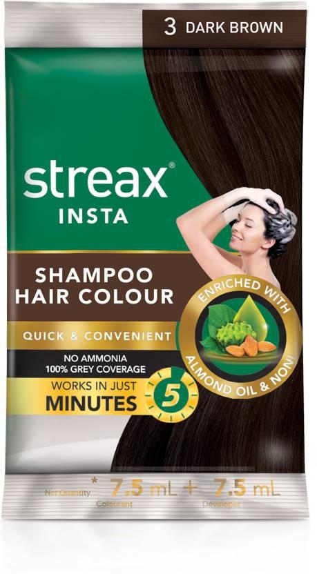 Streax Insta Shampoo Hair Colour Dark Brown Pack Of 16 Hair Color