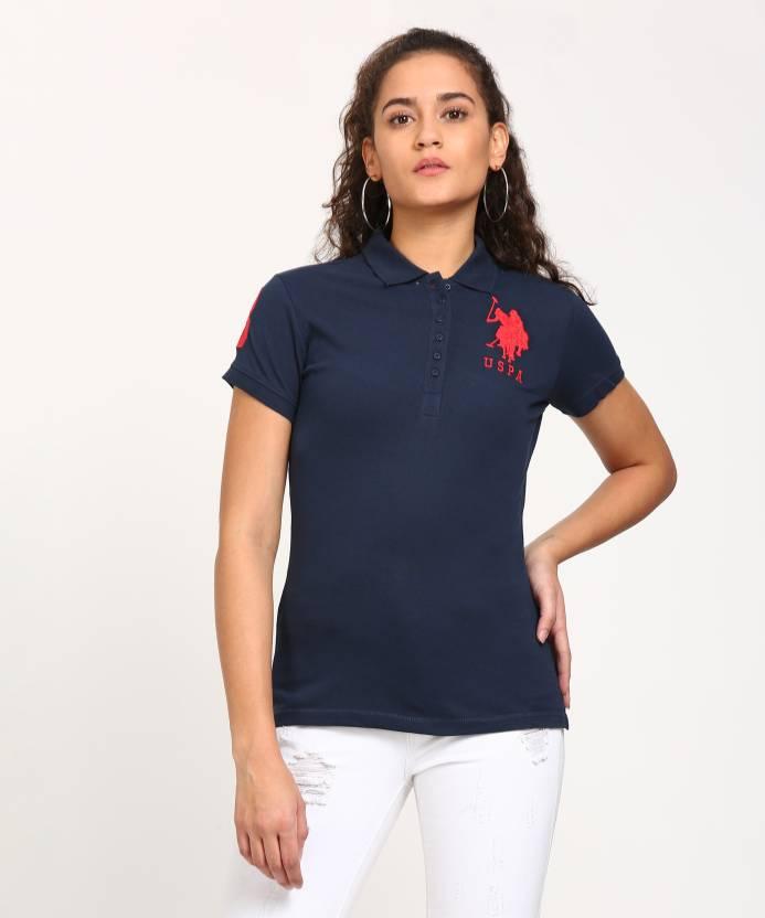 e198d7f5 U.S. Polo Assn Solid Women's Polo Neck Dark Blue T-Shirt - Buy NAVY U.S.  Polo Assn Solid Women's Polo Neck Dark Blue T-Shirt Online at Best Prices  in India ...