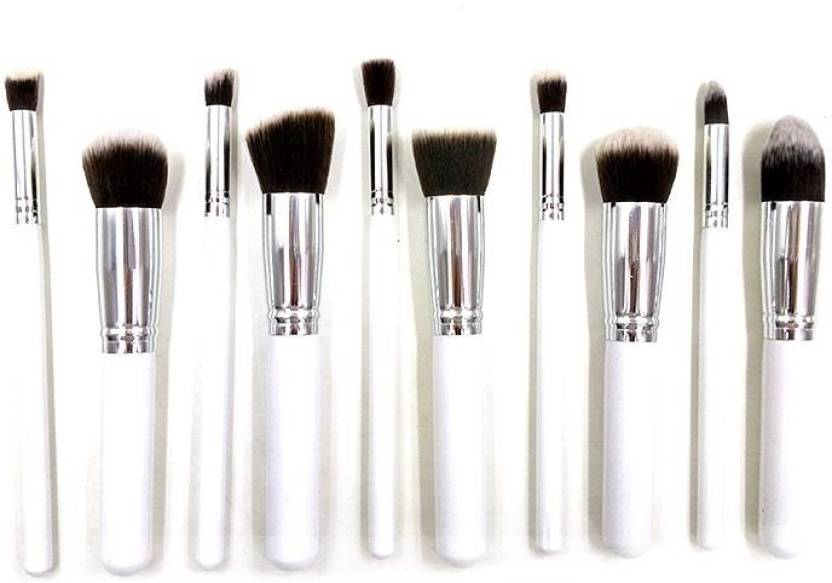 183633e8f00a AlexVyan 10 Pcs White and Silver Handle Full Makeup Brush Set Chubby ...