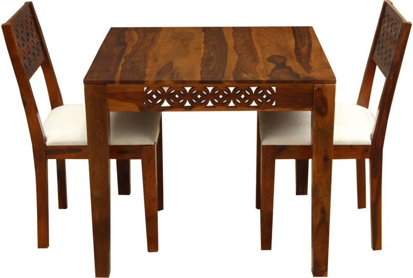 5774784cee The Attic Jasmine Upholstered Sheesham Solid Wood 2 Seater Dining Set  (Finish Color - Honey)