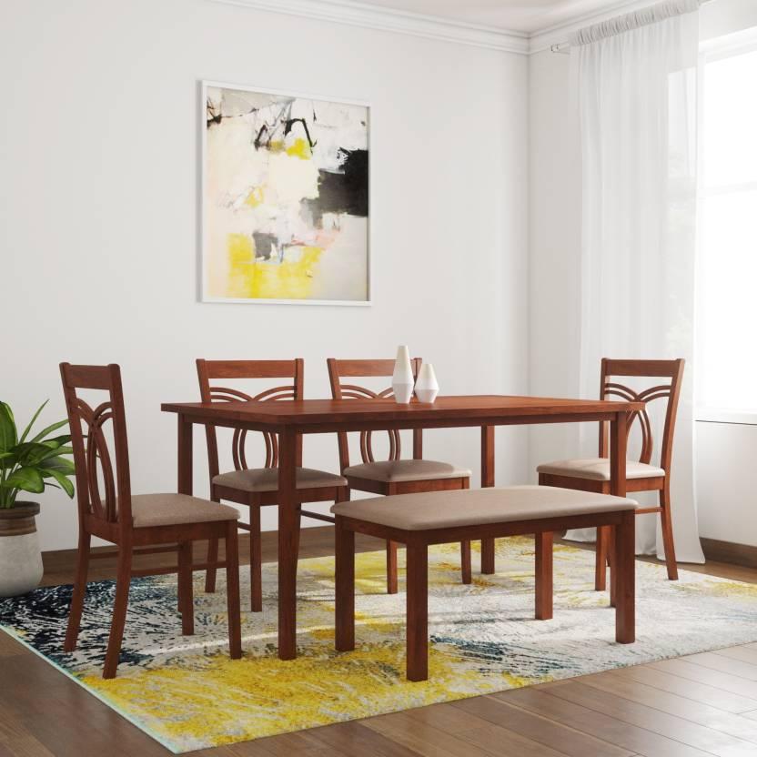 HomeTown Stella Solid Wood 6 Seater Dining Set Finish Color   Dark Walnut