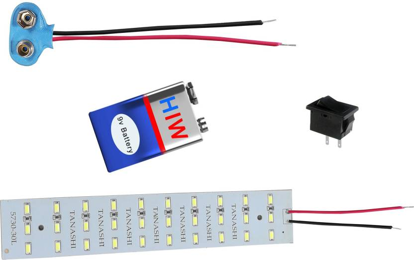 kit4curious led light strip with 9v battery, connector and switch with  instruction manual educational electronic hobby kit price in india - buy  kit4curious