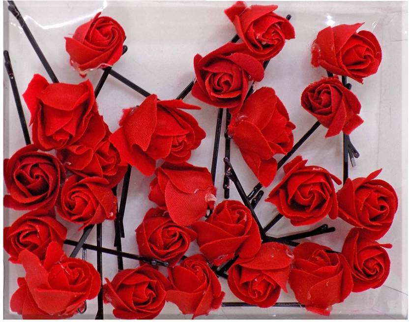 8d12fe38c Prime Set Of 24 Flower Hair Pin For Wedding, Party Wear Hair Accessories, Red  Hair Pin (Red)