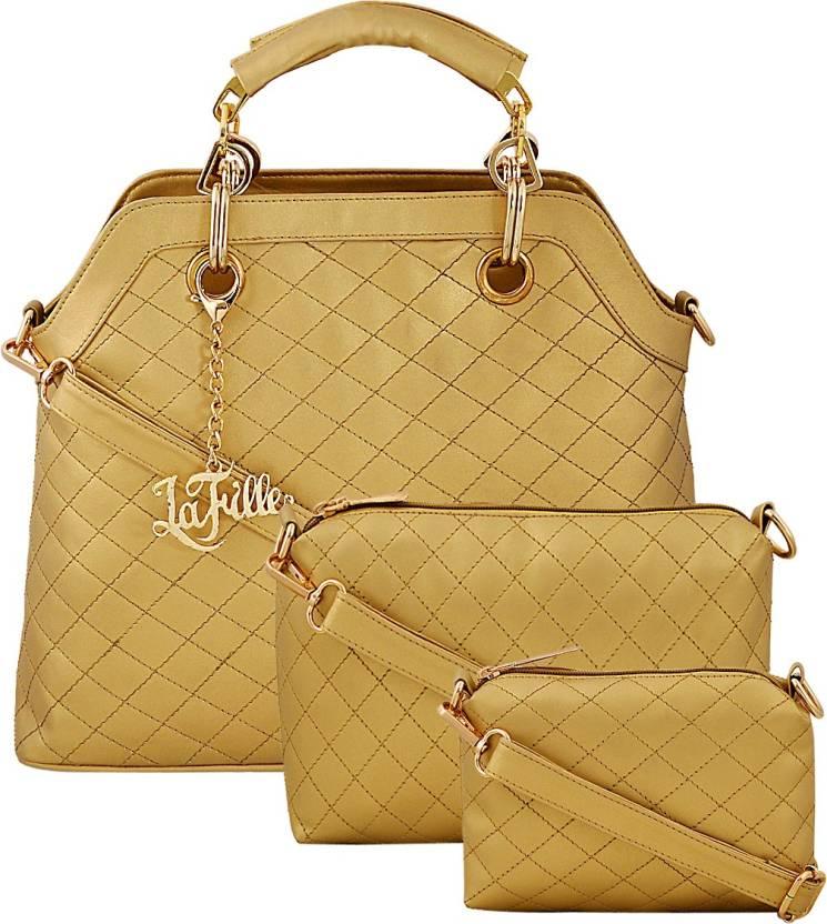 8cf872e22770 Buy LaFille Hand-held Bag GOLDEN Online   Best Price in India ...