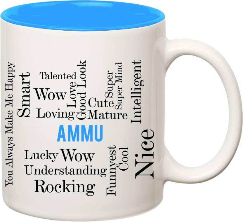 IBGift Ammu Good Personality Inner Blue Ceramic coffee Name