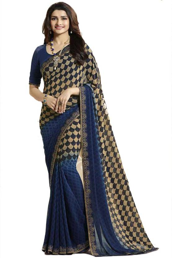 78cb65f00 Buy Vedant Vastram Printed Fashion Georgette Blue Sarees Online ...