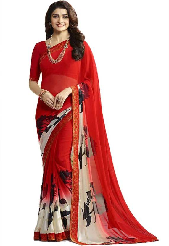 17cfd65525233 Buy Zelly Creation Printed Fashion Georgette Red Sarees Online ...