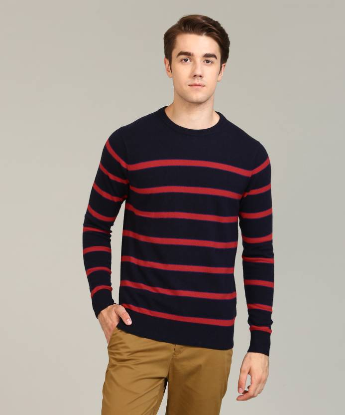2b05c9700692b2 Tommy Hilfiger Striped Round Neck Casual Men s Dark Blue Sweater - Buy Blue Tommy  Hilfiger Striped Round Neck Casual Men s Dark Blue Sweater Online at Best  ...