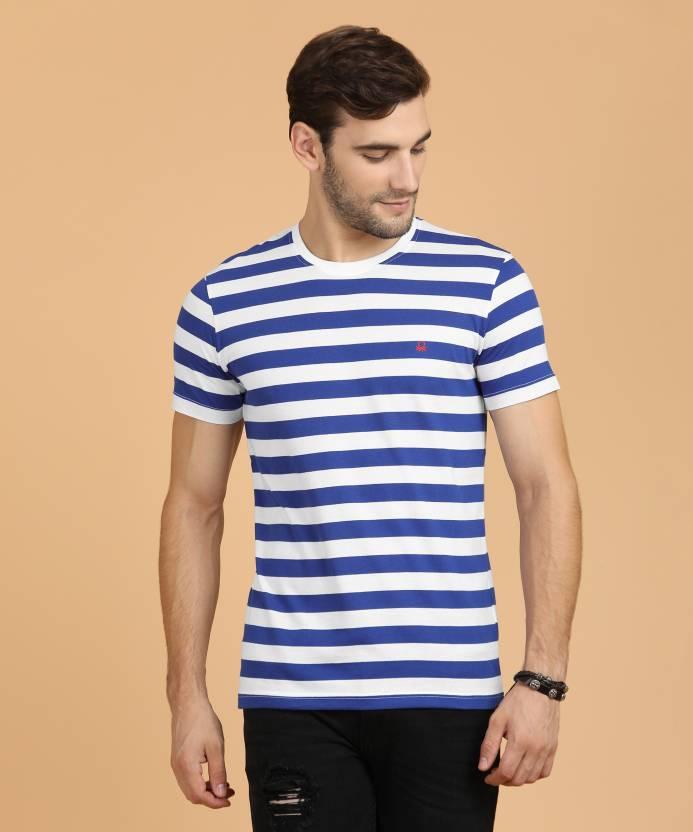 c0d6fd072b United Colors of Benetton Striped Men Round Neck Blue T-Shirt - Buy ...