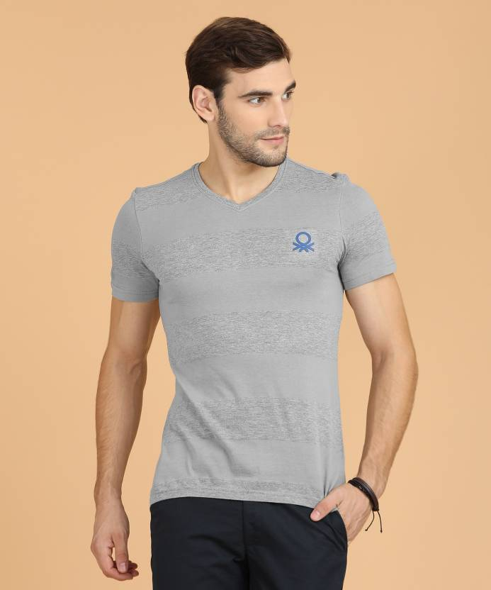 cb06ac722a United Colors of Benetton Broad Stripes Men V-neck Grey T-Shirt - Buy 902 United  Colors of Benetton Broad Stripes Men V-neck Grey T-Shirt Online at Best ...