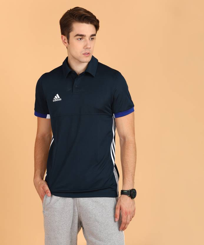 779a9378 ADIDAS Solid Men Polo Neck Blue T-Shirt - Buy ADIDAS Solid Men Polo Neck  Blue T-Shirt Online at Best Prices in India | Flipkart.com