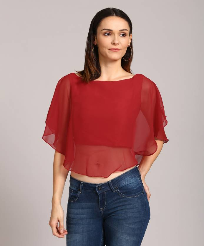 234558f65bc3b0 Athena Casual Sleeveless Solid Women s Red Top - Buy Red Athena Casual  Sleeveless Solid Women s Red Top Online at Best Prices in India