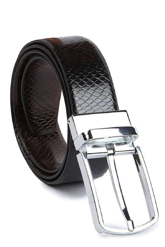 7f2d0a9620b kaezri Men Casual Black Artificial Leather Reversible Belt Black - Price in  India