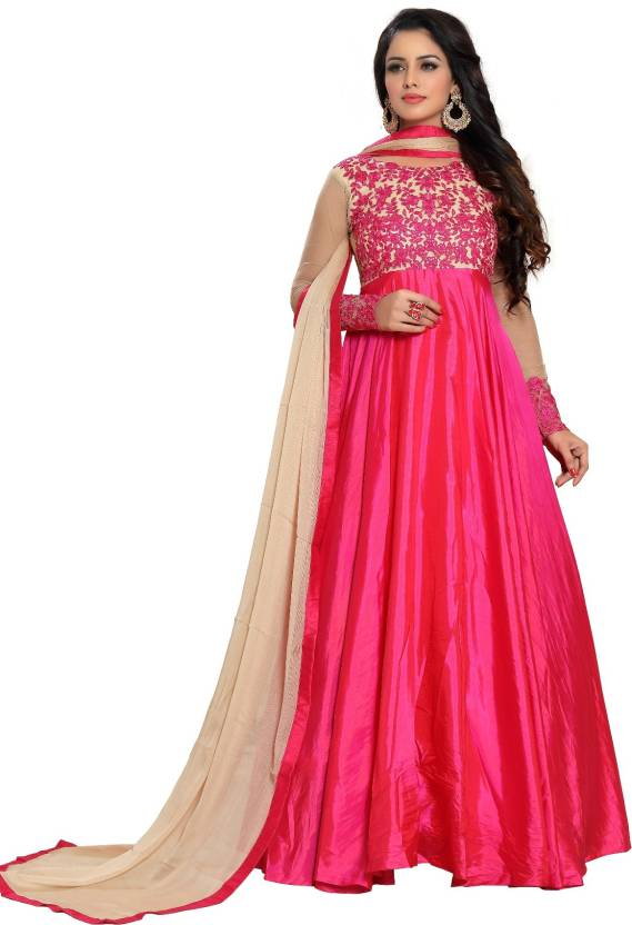 4934e48de77 Fashionuma Silk Embroidered Anarkali Suit Material Price in India ...