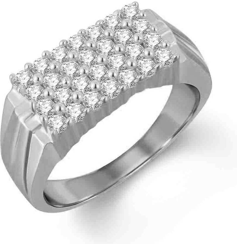 Silverdew Silver Band Ring For Men In White Rhodium Two Tone 28