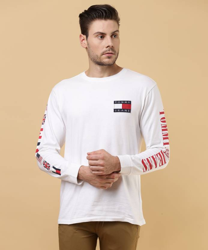 f51a2b97bbd79 Tommy Hilfiger Printed Men s Round Neck White T-Shirt - Buy Blue Tommy  Hilfiger Printed Men s Round Neck White T-Shirt Online at Best Prices in  India ...