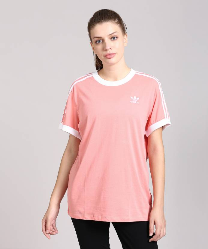 780e2f2130e ADIDAS Solid Women s Round Neck Pink T-Shirt - Buy Tacros ADIDAS Solid  Women s Round Neck Pink T-Shirt Online at Best Prices in India