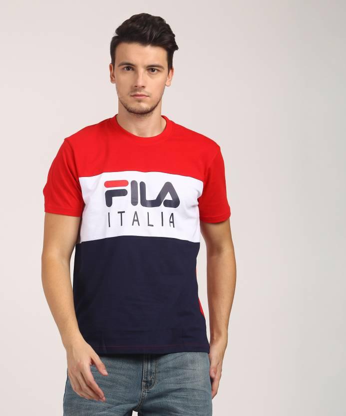 39cf8c7d80 Fila Printed Men's Round Neck Red, Dark Blue T-Shirt - Buy CHN RD Fila  Printed Men's Round Neck Red, Dark Blue T-Shirt Online at Best Prices in  India ...