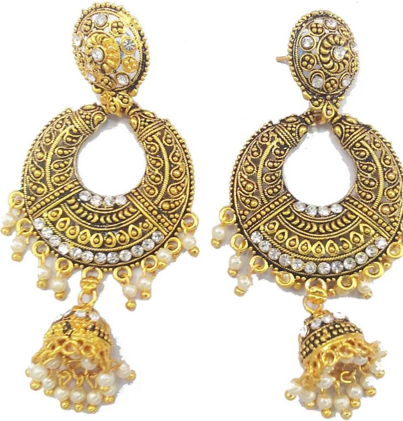 b121b5638 Flipkart.com - Buy Nita Fancy Earing Stone White Work Gold Women Earring  Crystal Metal Chandbali Earring Online at Best Prices in India