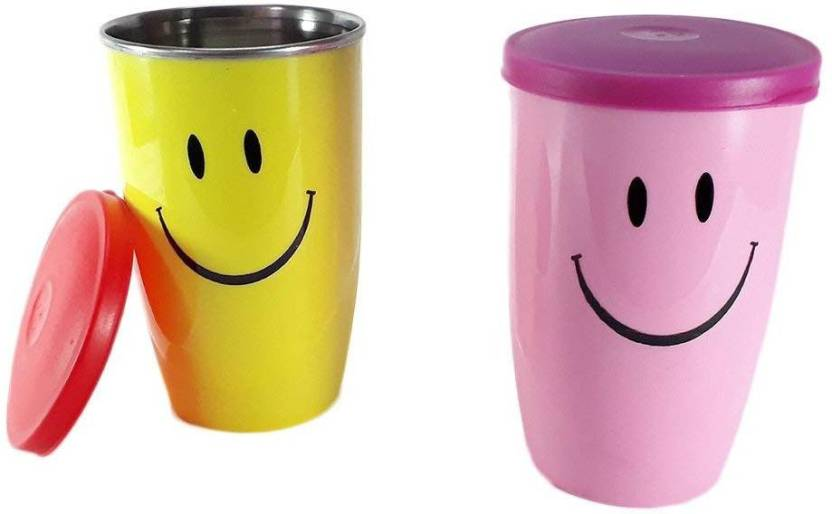 SND Fancy Smiley Steel Glass With Lid For Kids Return Gifts Birthday Party Set 300 Multicolor Pack Of 2