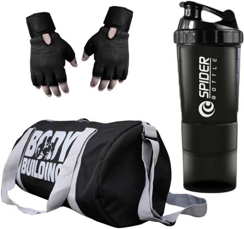 Snipper Combo Of Bodybuilding Gym Bag Gloves And Spider Shaker Black