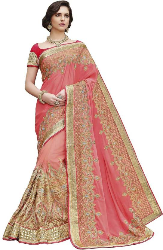 11abbcc855d086 Buy Zofey Embroidered Fashion Georgette, Net Pink, Gold Sarees ...