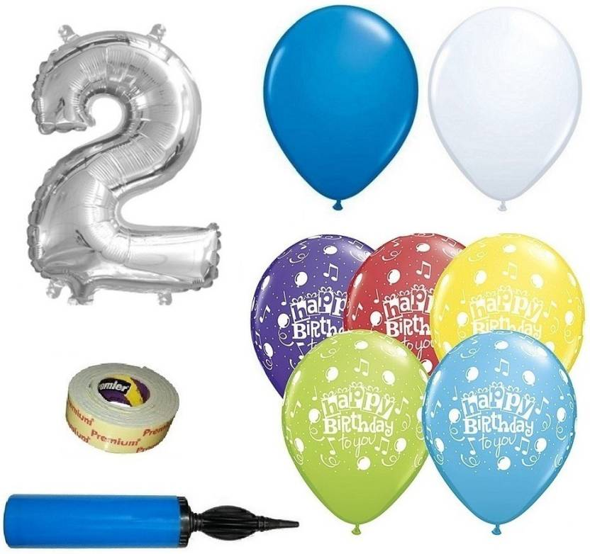 Easypartystore 2nd Birthday Decoration Kit For Baby Boys With Balloon Pump Combo 48 Items Price In India