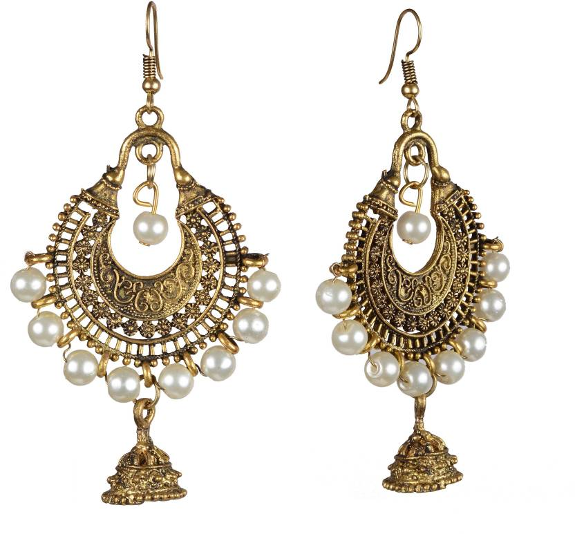 74a807e86 Flipkart.com - Buy Craftoy Golden White Pearl German Oxidised Jhumki Earring  Pearl German Silver Jhumki Earring Online at Best Prices in India