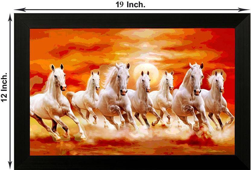Pintura 7 Running Horses Designer Painting With Wooden Frame Wall
