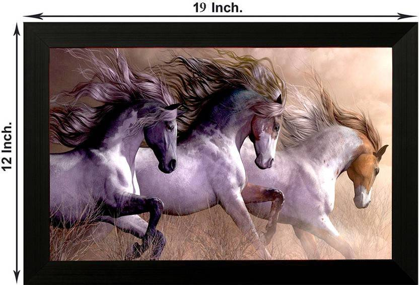Pintura 3 Running Horses Designer Painting With Wooden Frame Wall