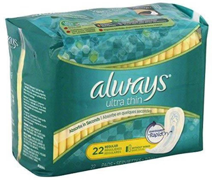 Always Pads, Ultra Thin, without Wings, Regular 22 pads
